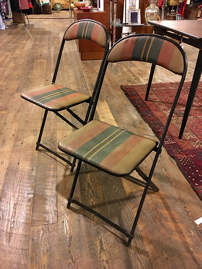 Pair Oil Canvas Folding Chairs