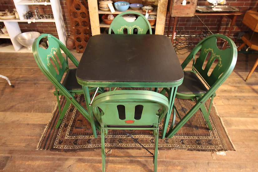 Vintage Folding Card Table & Chairs