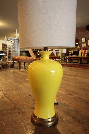 Pair Yellow Ceramic Lamp
