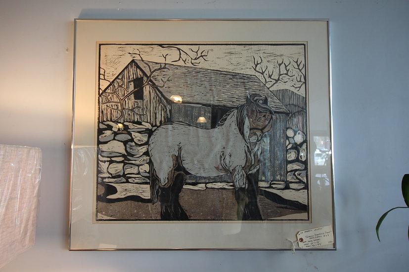 Woodblock Print of Horse & Barn
