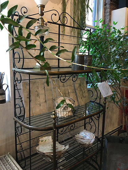 SOLD - French Iron & Brass Baker's Rack