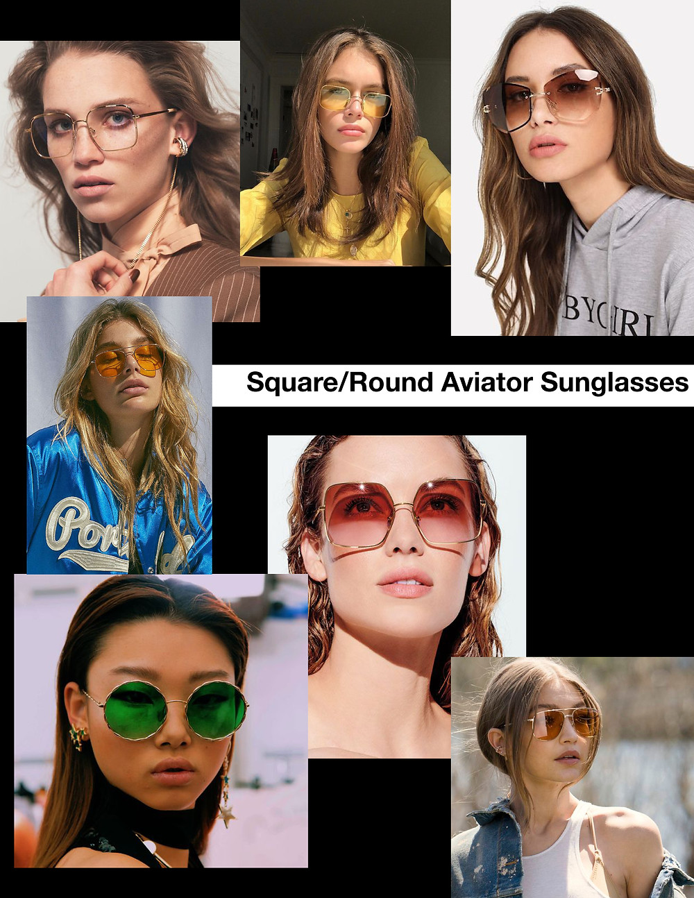 Square Aviators, Round Aviator sunglasses shades, stylist selection, shopping guide, fashion trends, summer 2021