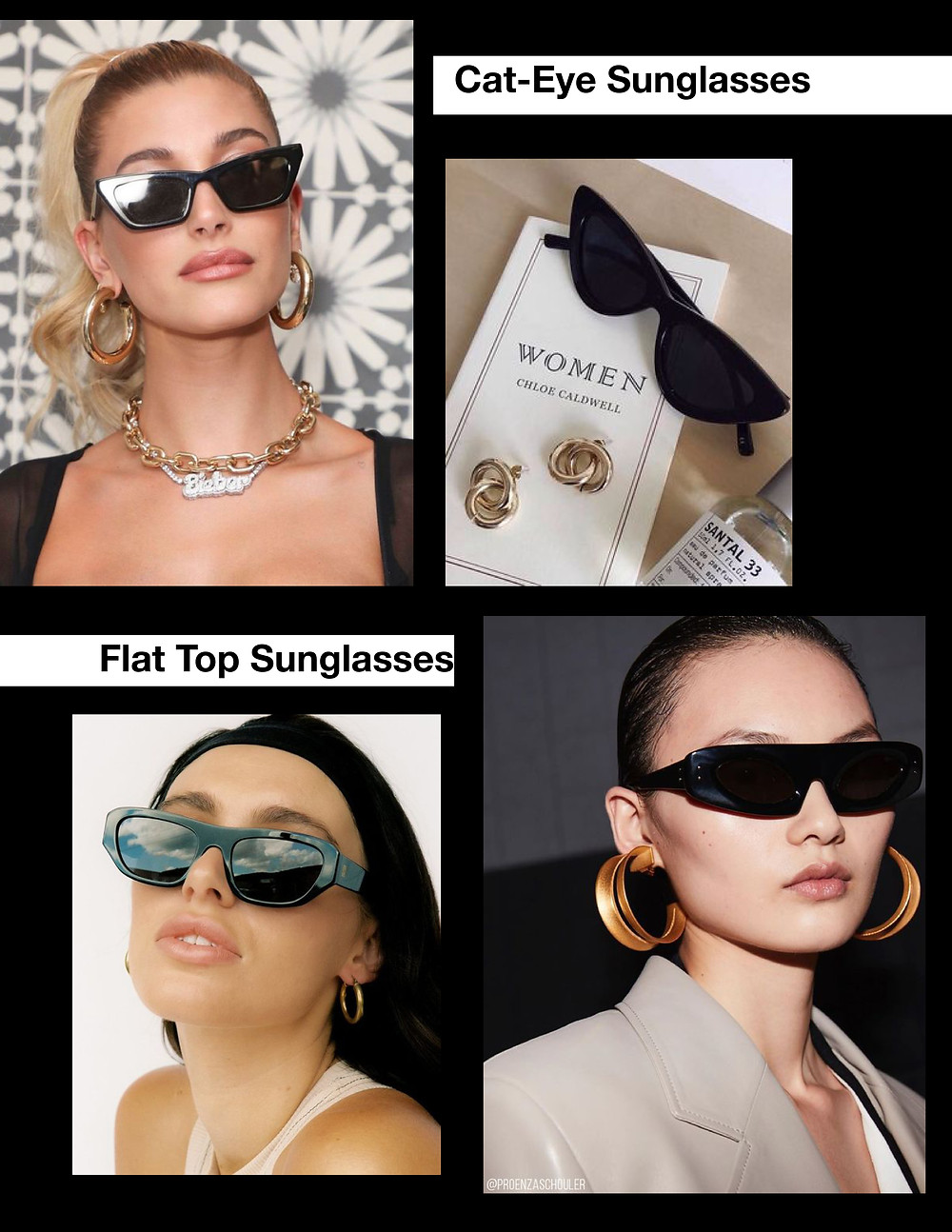 Cat-Eye sunglasses shades, Flat- Top, Flat Brow, stylist selection, shopping guide, fashion trends, summer 2021