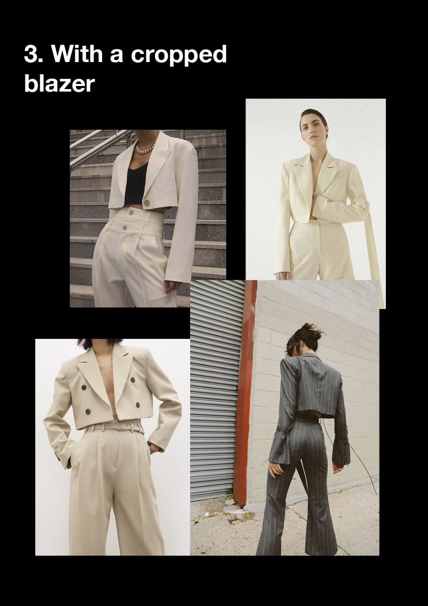 styling tips, how to style wide trousers, wide trousers with cropped blazer, shopping