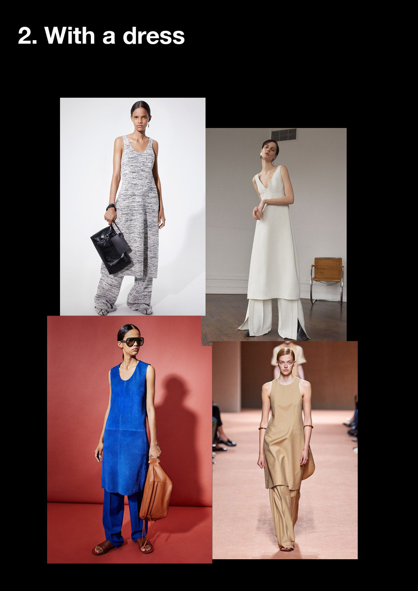 how to style wide trousers, wide trousers with a dress, styling tips, fashion, shopping