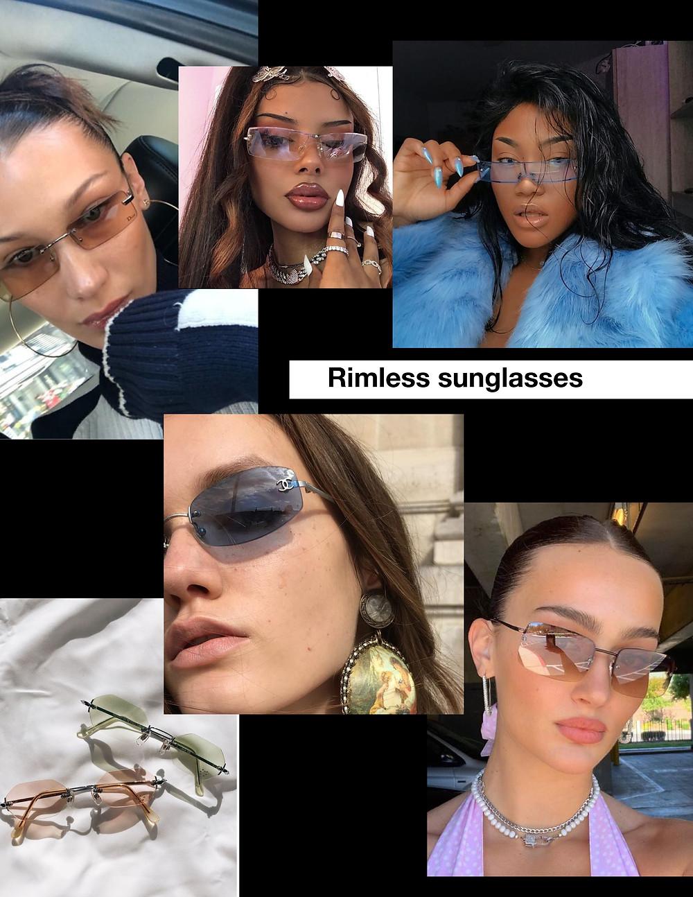 rimless sunglasses, fashion, trends, summer sunglasses
