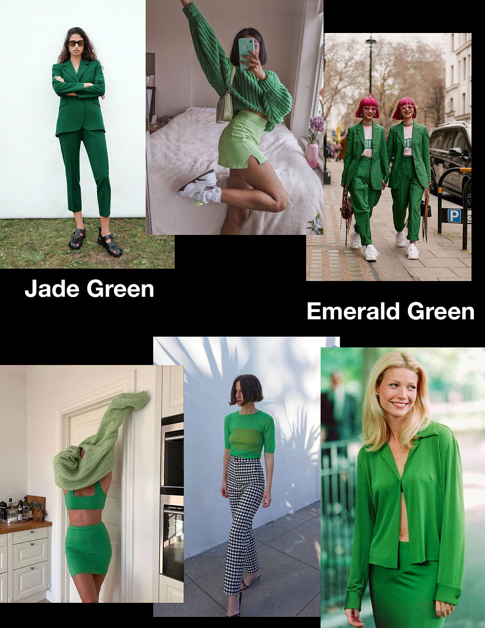 fashion trends for summer 2021, green outfits, shopping guide, stylist advice, jade green, emerald green outfits