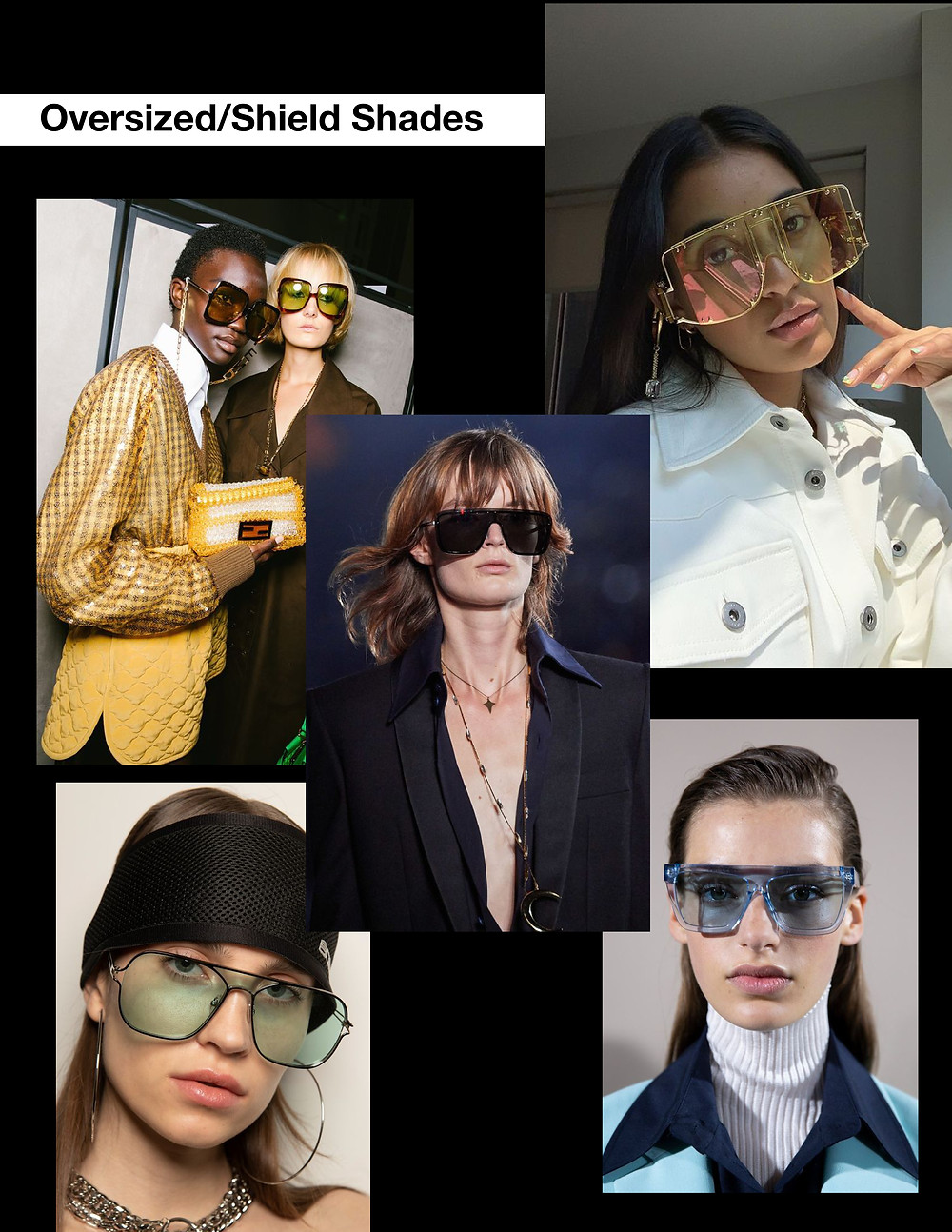 Oversized sunglasses shades, Shields, stylist selection, shopping guide, fashion trends, summer 2021
