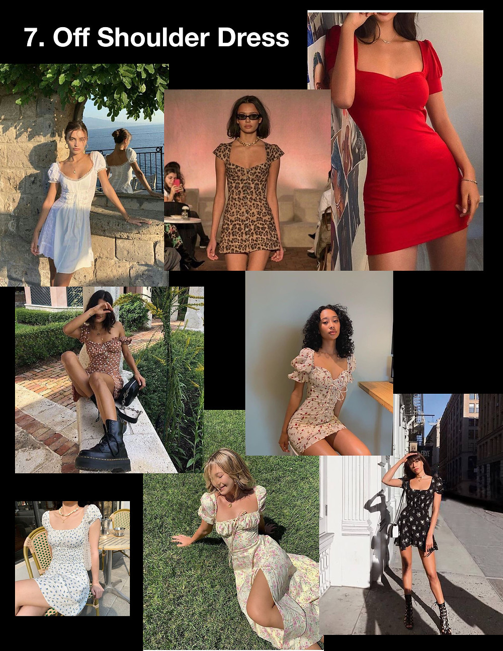 summer dresses 2021, style tips, fashion, shopping, trends, off shoulder dress, 90s, grunge style