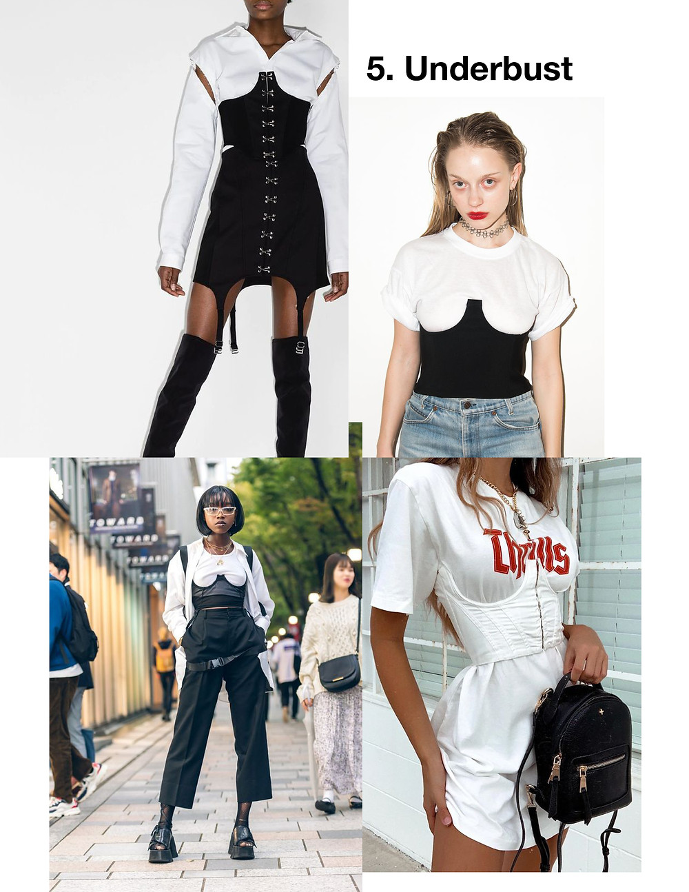 Fashion, Style, trendy tops for summer 2021, vintage corset outfit, under bust corset top