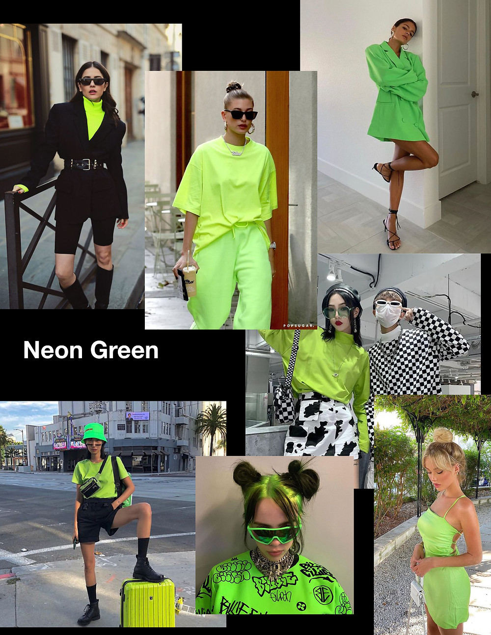 fashion trends for summer 2021, green outfits, shopping guide, stylist advice, neon green outfits