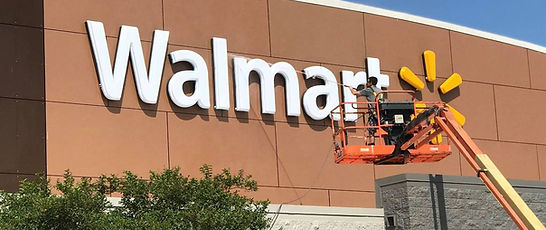 Cleaning Walmart Front Signage