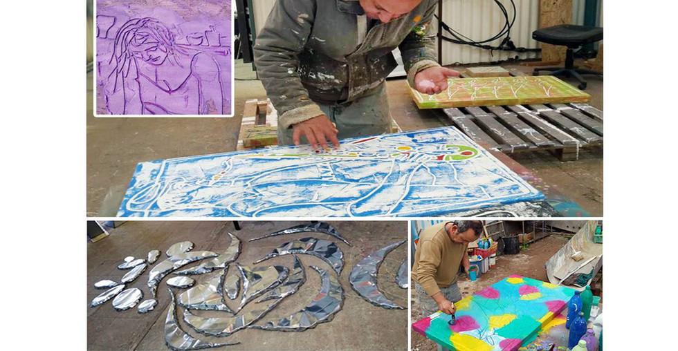 האמן ג'וג'ו בסטודיו במושב עין תמר
