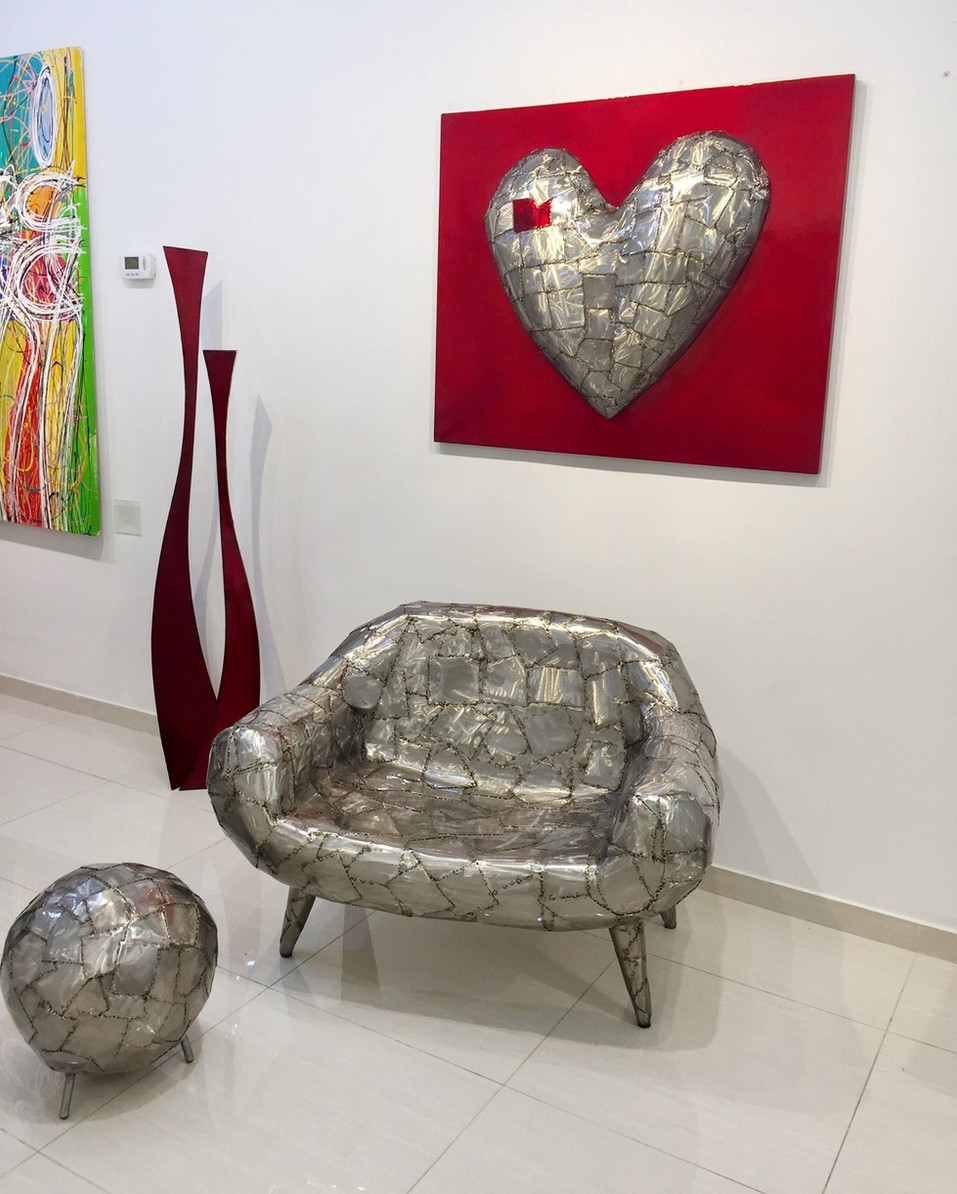 """""""Patch Work"""" Armchair and round """"Pouf"""""""