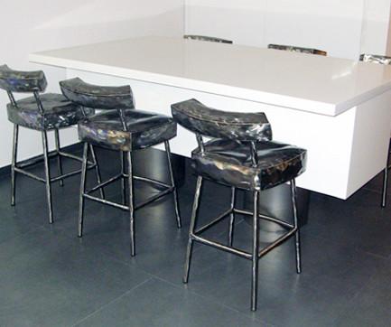 """Bar"" Chair- Metalic silver finish"