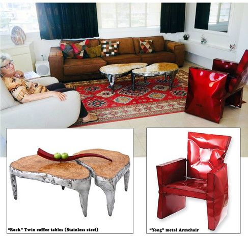 """""""Yong"""" armchair and """"Rock"""" Twin Tables"""