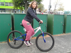 Tina and her new preloved bike picked up from Upper Hutt
