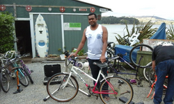 a happy Mike with his preloved bike