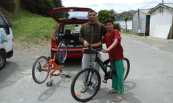 Two bikes for son and sister