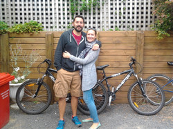 Lucy and Craig and our two hire bikes returned after journeys around NZ