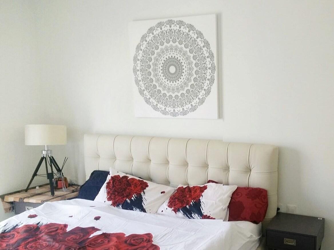 תמונה לקיר מיטה, מנדלה 24 אפורה