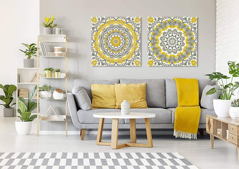 זוג מנדלות צהוב-אפור