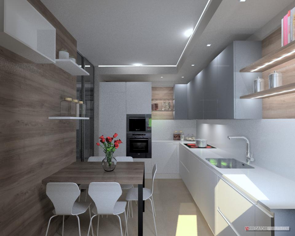 Cucina piccola con tavolo, moderna e funzionale.