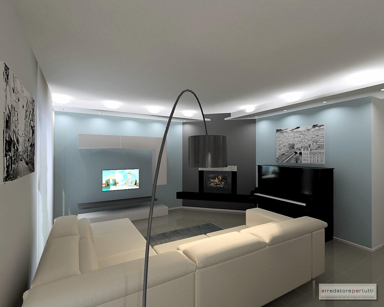 progetto soggiorno con pianoforte