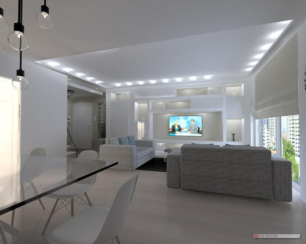 soggiorno moderno con cartongesso
