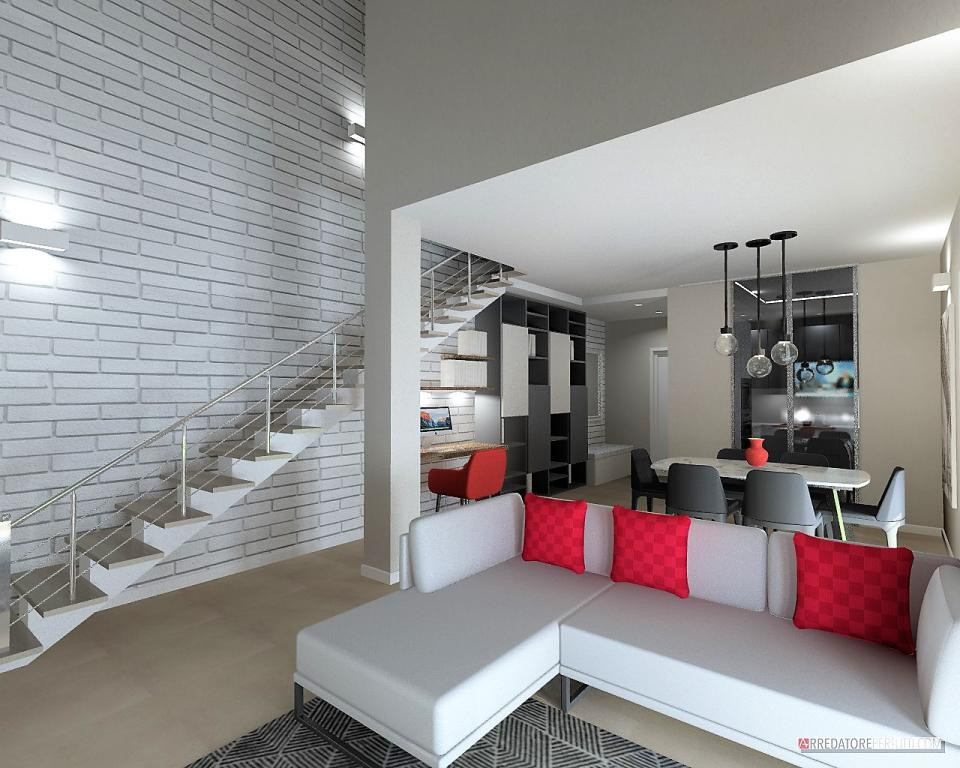interior designer online, soggiorno loft con ampia parete in sasso e scala a vista