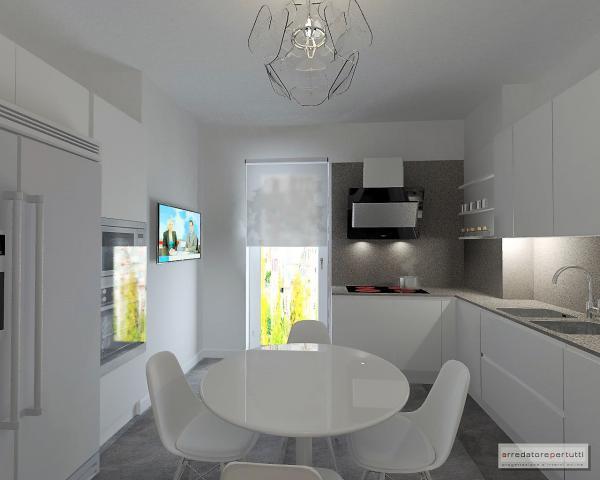 cucina con tavolo bianco