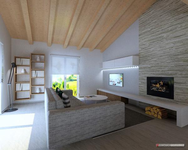 soggiorno con tetto a vista