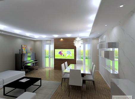 Come arredare casa: un soggiorno con pareti rivestite.