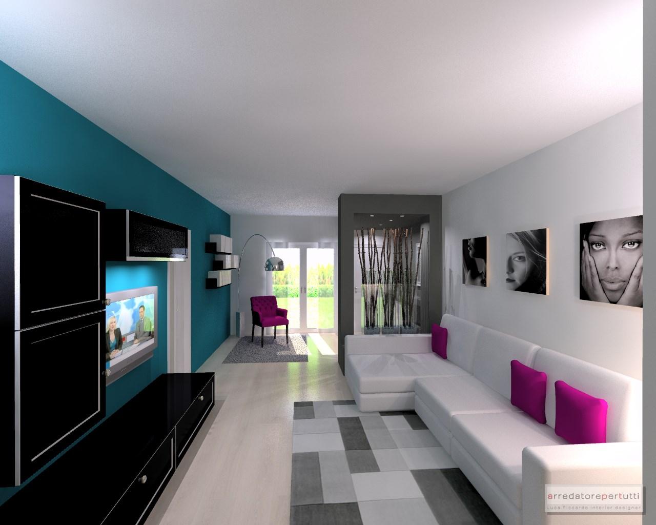 Come arredare un soggiorno lungo e stretto: il progetto.  Progettazione d'interni ...