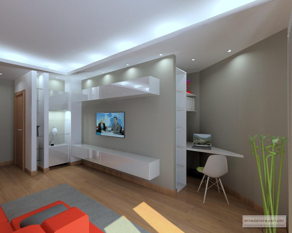Mobile Dietro Al Divano come arredare un soggiorno a pianta irregolare: il progetto.
