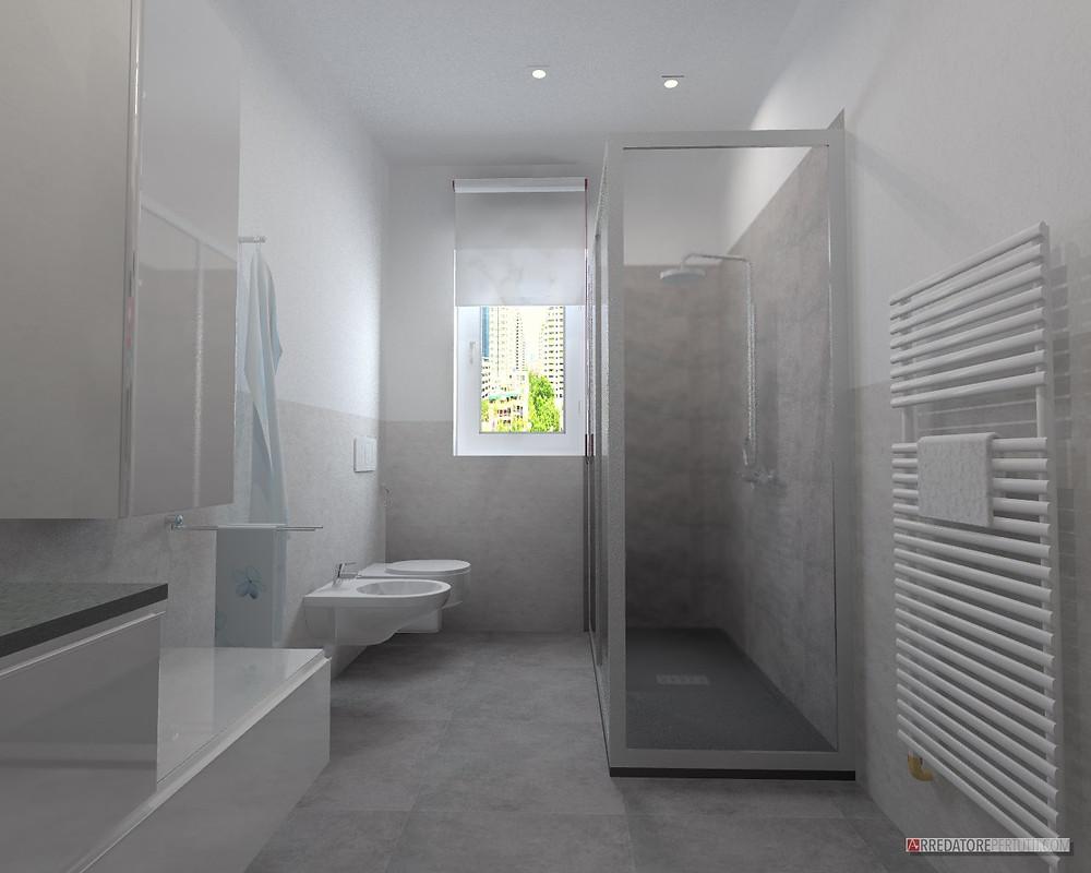 bagno moderno con gres effetto cemento