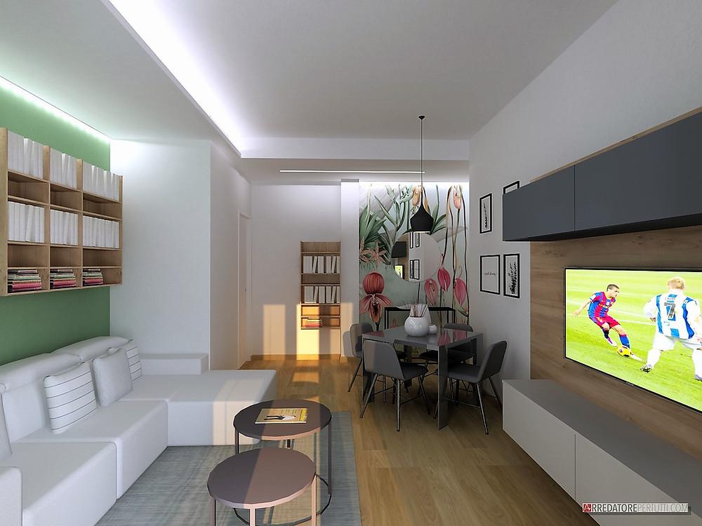 Un soggiorno moderno con carta da parati eclettica.
