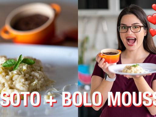 RISOTO DE ALHO PORO E BOLO MOUSSE DE CHOCOLATE
