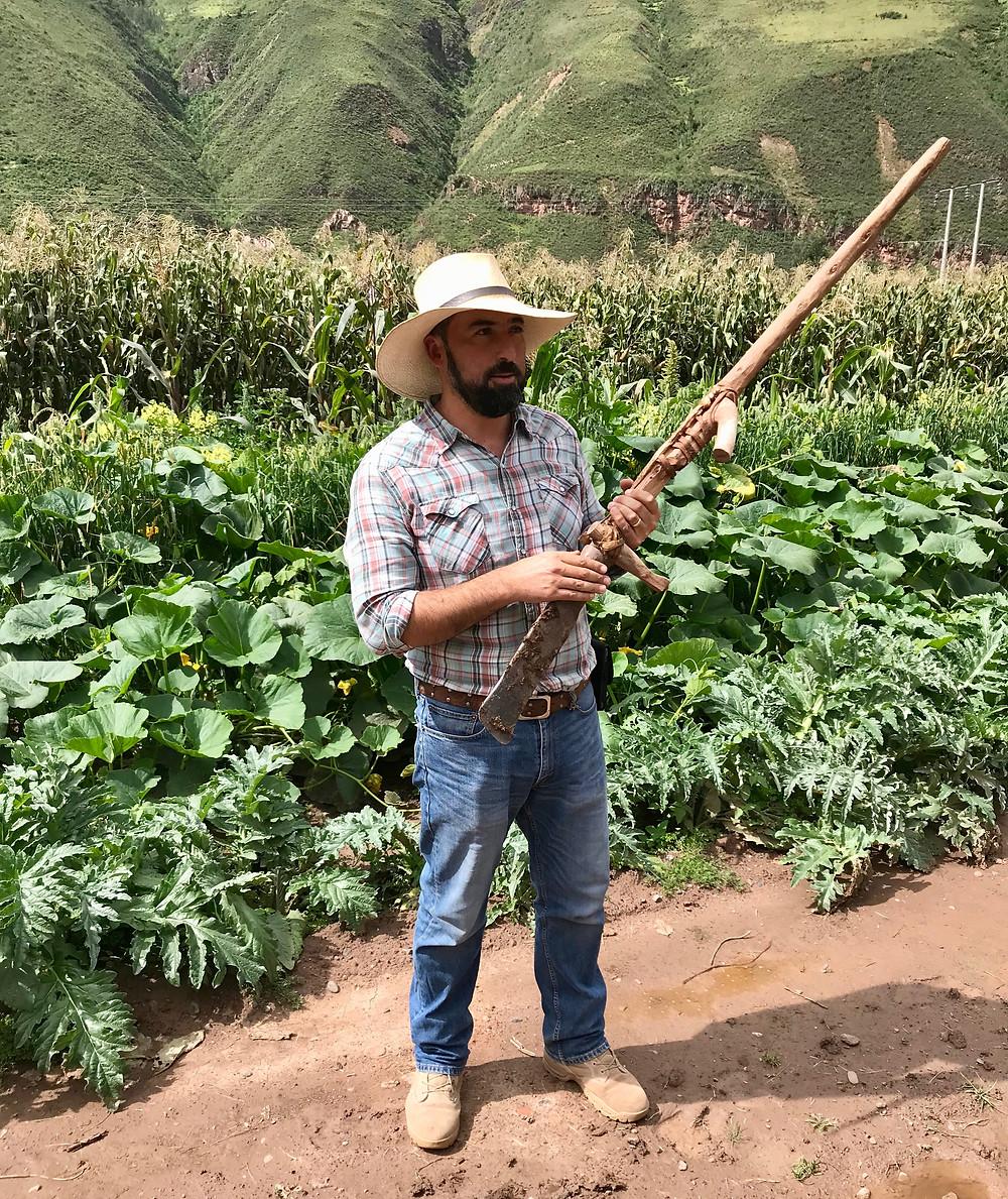 Josef del Pilar demonstrating wooden tools