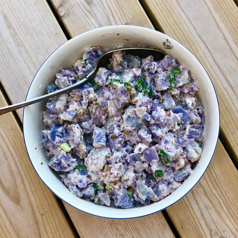 Simple blue potato salad