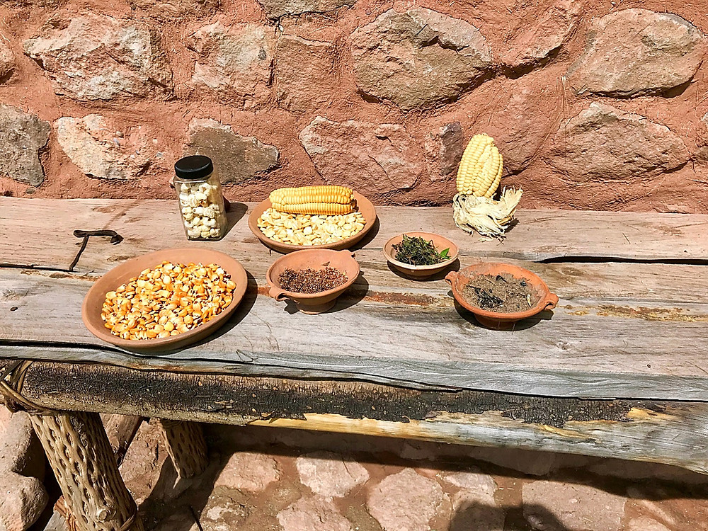 Corn kernels, pink peppercorns, Munia mint and ash