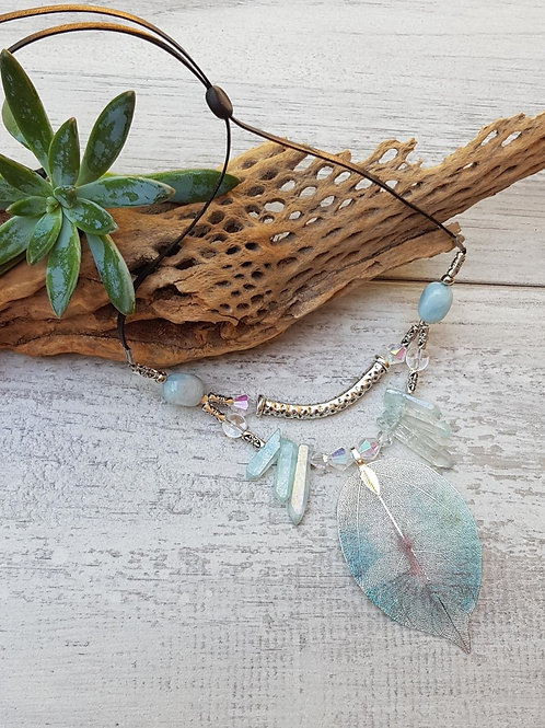 Hand Painted Leaf & Crystal Necklace