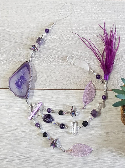 Agate Hangers with Feathers 60cm