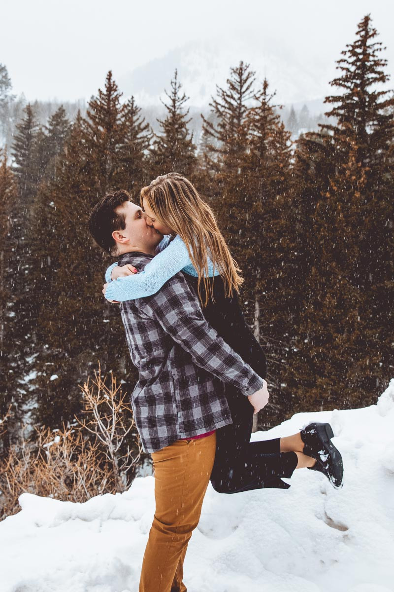 Snowing on couple