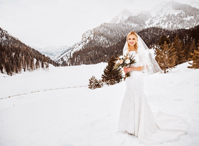 Snow Covered Bridal Session At Tibble Fork