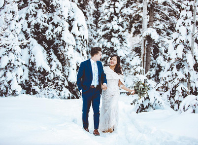 Winter Spruces Campground Bride and Groom Session