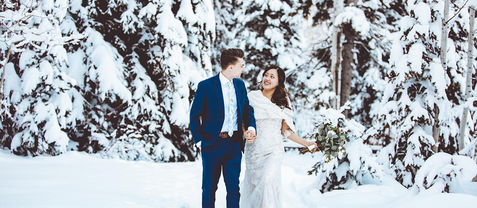 Winter Spruces Campground Bride and Groom Session with Phoebe & David