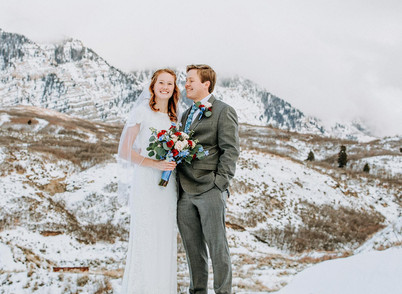 Canyon View Park Winter Bride & Groom