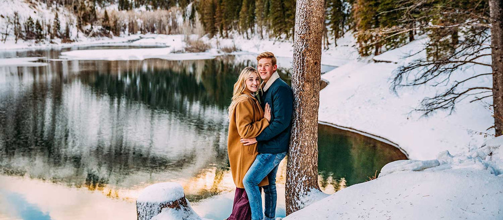 Winter Tibble Fork Engagement Session with Rachel & Brett