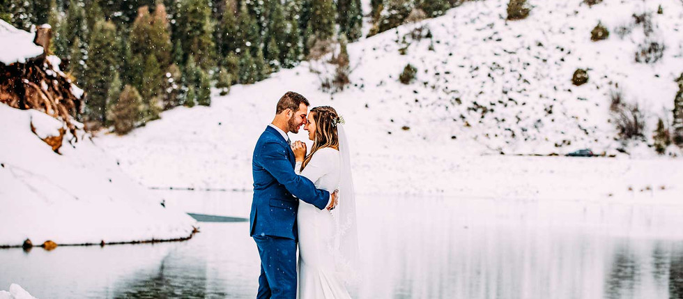 Winter Tibble Fork Reservoir Bride & Groom Session with Brooklyn & Christian